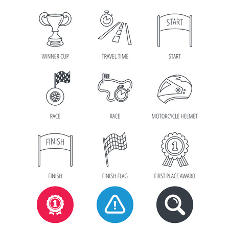 time drive: Achievement and search magnifier signs. Winner cup and award icons. Race flag, motorcycle helmet and timer linear signs. Road travel, finish and start flat line icons. Hazard attention icon. Vector Illustration