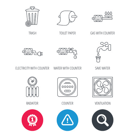 Achievement and search magnifier signs. Ventilation, radiator and water counter icons. Toiler paper, gas and electricity counters linear signs. Trash icon. Hazard attention icon. Vector Illustration