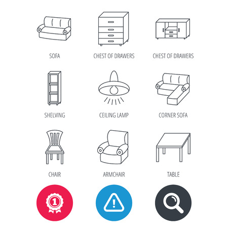 shelving: Achievement and search magnifier signs. Corner sofa, table and armchair icons. Chair, ceiling lamp and chest of drawers linear signs. Shelving, furniture flat line icons. Hazard attention icon. Vector