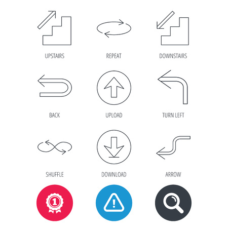 Achievement and search magnifier signs. Arrows icons. Download, repeat and shuffle linear signs. Upload, back arrow flat line icons. Hazard attention icon. Vector