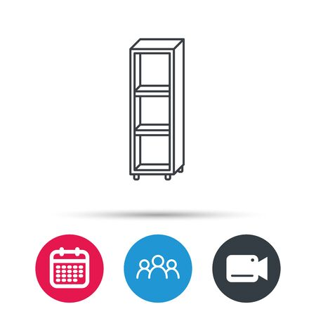 shelving: Empty shelves icon. Shelving sign. Group of people, video cam and calendar icons. Vector Illustration