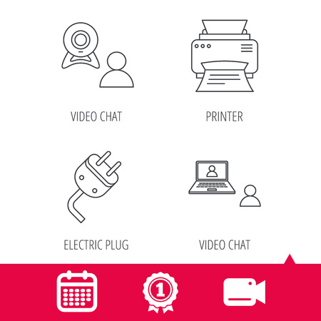 portative: Achievement and video cam signs. Video chat, printer and electric plug icons. Video conference linear sign. Calendar icon. Vector Illustration