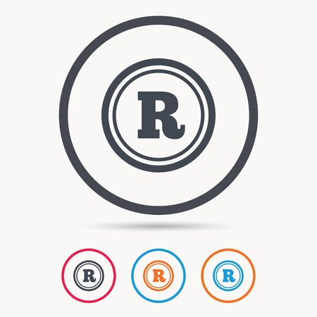 intellectual: Registered trademark icon. Intellectual work protection symbol. Colored circle buttons with flat web icon. Vector Illustration