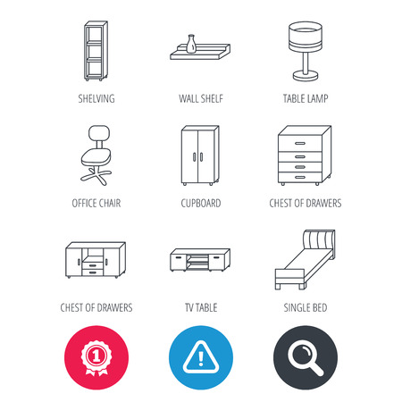 shelving: Achievement and search magnifier signs. Single bed, TV table and shelving icons. Office chair, table lamp and cupboard linear signs. Wall shelf, chest of drawers icons. Hazard attention icon. Vector