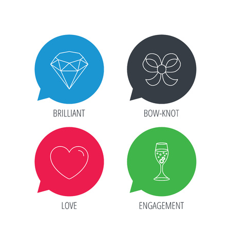 brilliant heart: Colored speech bubbles. Love heart, brilliant and engagement ring icons. Bow-knot linear sign. Flat web buttons with linear icons. Vector