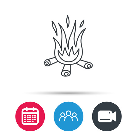 dangerous work: Bonfire icon. Fire sign. Group of people, video cam and calendar icons. Vector