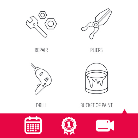 hatchet: Achievement and video cam signs. Wrench tool, pliers and drill icons. Bucket of paint linear signs. Calendar icon. Vector Illustration