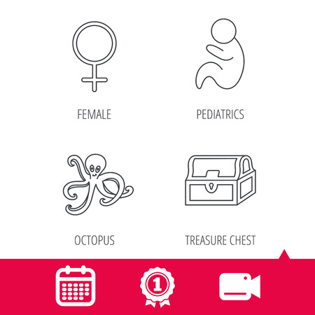 paediatrics: Achievement and video cam signs. Female, treasure chest and pediatrics icons. Octopus linear sign. Calendar icon. Vector