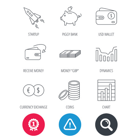 deceleration: Achievement and search magnifier signs. Piggy bank, cash money and startup rocket icons. Wallet, currency exchange and dollar usd linear signs. Chart, coins and dynamics icons. Hazard attention icon