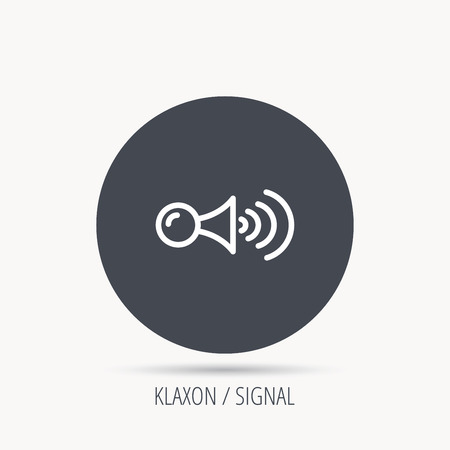 strident: Klaxon signal icon. Car horn sign. Round web button with flat icon. Vector
