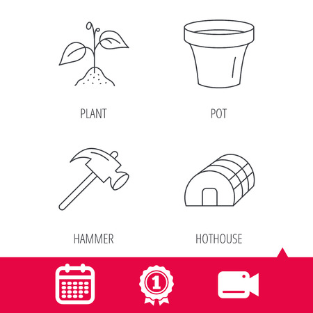 hothouse: Achievement and video cam signs. Sprout plant, hammer and pot icons. Hothouse linear sign. Calendar icon. Vector