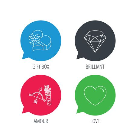 brilliant heart: Colored speech bubbles. Love heart, brilliant and gift box icons. Amour bow with arrows linear signs. Flat web buttons with linear icons. Vector