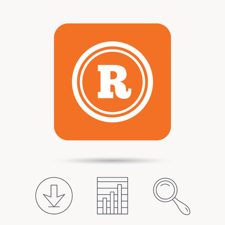 intellectual: Registered trademark icon. Intellectual work protection symbol. Report chart, download and magnifier search signs. Orange square button with web icon. Vector