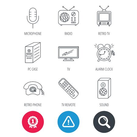 pc case: Achievement and search magnifier signs. TV remote, retro phone and radio icons. PC case, microphone and alarm clock linear signs. Hazard attention icon. Vector