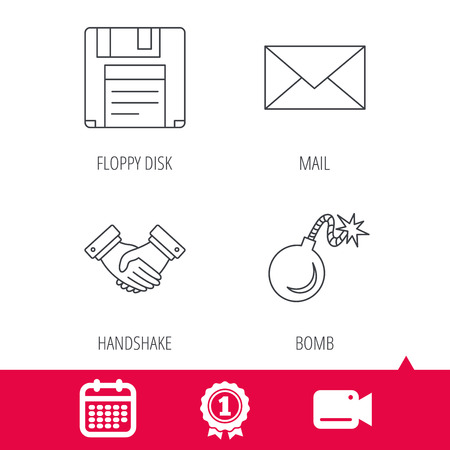 email bomb: Achievement and video cam signs. Mail, bomb and handshake icons. Floppy disk linear sign. Calendar icon. Vector