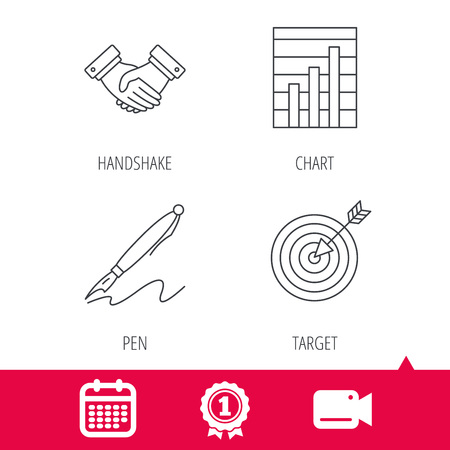 achievement charts: Achievement and video cam signs. Handshake, graph charts and target icons. Pen linear sign. Calendar icon. Vector Illustration