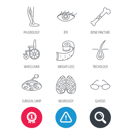 neurosurgery: Achievement and search magnifier signs. Vein varicose, neurology and trichology icons. Surgical lamp, glasses and eye linear signs. Bone fracture, wheelchair and weight loss icons. Vector Illustration