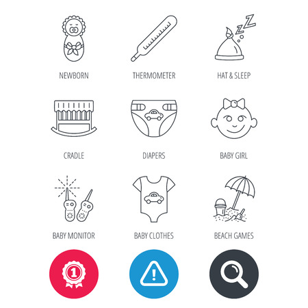 Achievement and search magnifier signs. Newborn clothes, diapers and sleep hat icons. Thermometer, baby girl and cradle linear signs. Beach games, monitoring flat line icons. Hazard attention icon Illustration