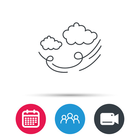 storm cloud: Wind icon. Cloud with storm sign. Strong wind or tempest symbol. Group of people, video cam and calendar icons. Vector