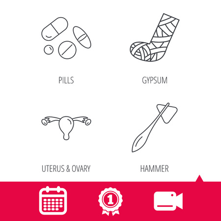 gynaecology: Achievement and video cam signs. Hammer, broken leg and medical pills icons. Uterus and ovary linear sign. Calendar icon. Vector Illustration