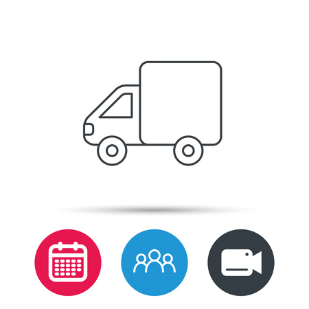 billing: Delivery truck icon. Transportation car sign. Logistic service symbol. Group of people, video cam and calendar icons. Vector