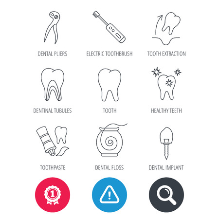 Achievement and search magnifier signs. Tooth extraction, electric toothbrush icons. Dental implant, floss and dentinal tubules linear signs. Toothpaste icon. Hazard attention icon. Vector