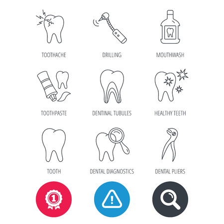Achievement and search magnifier signs. Tooth, stomatology and toothache icons. Mouthwash, dental pliers and diagnostics linear signs. Dentinal tubules, drilling icons. Hazard attention icon. Vector