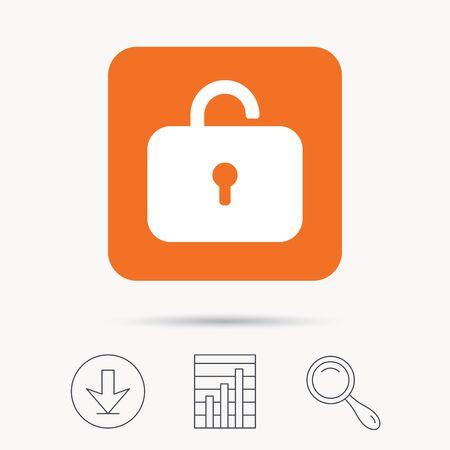 private access: Lock icon. Privacy locker sign. Private access symbol. Report chart, download and magnifier search signs. Orange square button with web icon. Vector