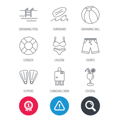flippers: Achievement and search magnifier signs. Surfboard, swimming pool and trunks icons. Beach ball, lingerie and shorts linear signs. Lifebuoy, cocktail and changing cabin icons. Hazard attention icon