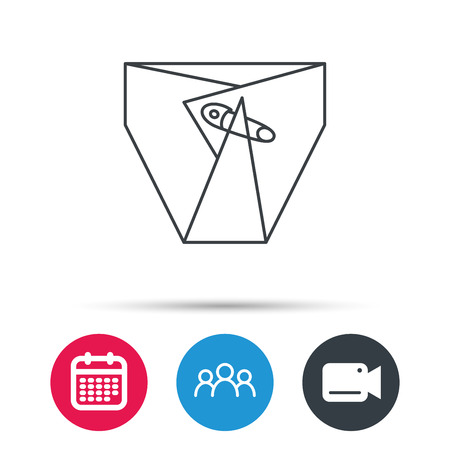 piss: Diaper with pin icon. Child underwear sign. Newborn protection symbol. Group of people, video cam and calendar icons. Vector