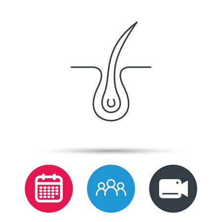 Trichology skin icon. Dermatology hair sign. Group of people, video cam and calendar icons. Vector Illustration