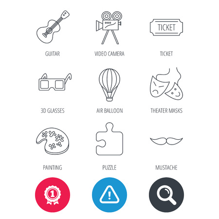 Achievement and search magnifier signs. Puzzle, guitar music and theater masks icons. Ticket, video camera and 3d glasses linear signs. Entertainment, painting and mustache icons. Vector Illustration