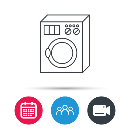 rinse: Washing machine icon. Washer sign. Group of people, video cam and calendar icons. Vector