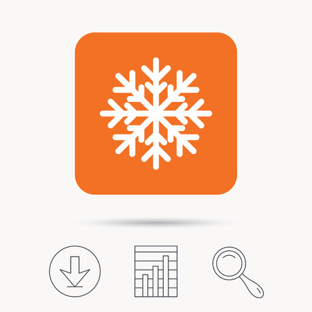 Snowflake icon. Air conditioning symbol. Report chart, download and magnifier search signs. Orange square button with web icon. Vector