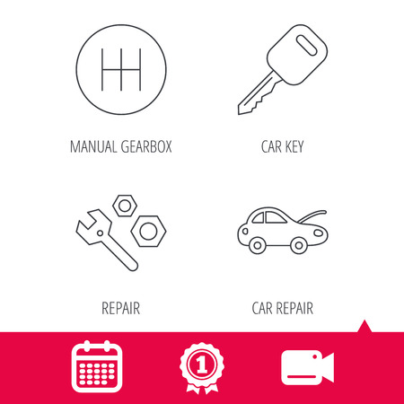 Achievement and video cam signs. Car key, repair tools and manual gearbox icons. Car repair, transmission linear signs. Calendar icon. Vector Illustration
