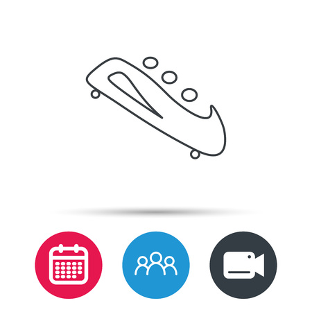 bobsleigh: Bobsleigh icon. Three-seater bobsled sign. Professional winter sport symbol. Group of people, video cam and calendar icons. Vector Illustration