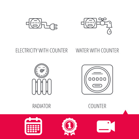 Achievement and video cam signs. Electricity, radiator and water counter icons. Counter linear sign. Calendar icon. Vector Illustration