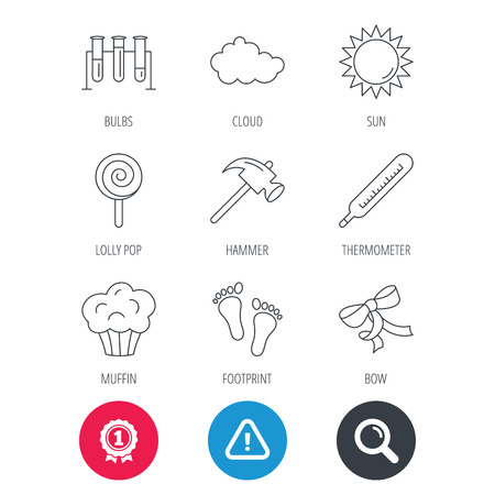 Achievement and search magnifier signs. Footprint, lab bulbs and thermometer icons. Muffin, bow and lolly pop linear signs. Cloud and sun flat line icons. Hazard attention icon. Vector Illustration
