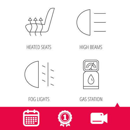 passing: Achievement and video cam signs. Petrol station, fog lights and heated seats icons. Gas fuel station linear sign. Calendar icon. Vector Illustration