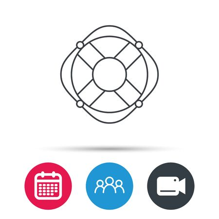 lifebelt: Lifebuoy with rope icon. Lifebelt sos sign. Lifesaver help equipment symbol. Group of people, video cam and calendar icons. Vector