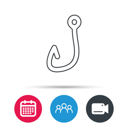 fishhook: Fishing hook icon. Fisherman equipment sign. Angling symbol. Group of people, video cam and calendar icons. Vector