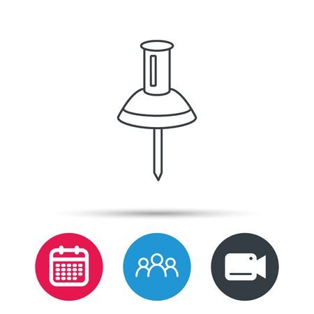 secretarial: Pushpin icon. Pin tool sign. Office stationery symbol. Group of people, video cam and calendar icons. Vector