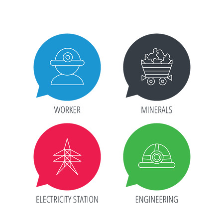 searcher: Colored speech bubbles. Worker, minerals and engineering helm icons. Electricity station linear sign. Flat web buttons with linear icons. Vector
