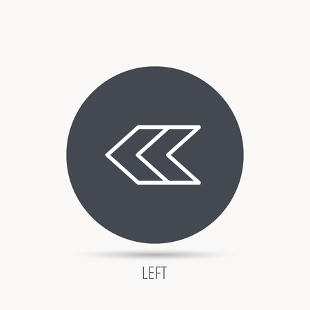 Left arrow icon. Previous sign. Back direction symbol. Round web button with flat icon. Vector