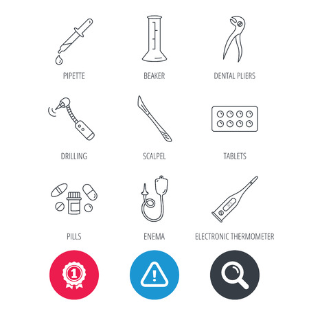 Achievement and search magnifier signs. Thermometer, pills and dental pliers icons. Tablets, drilling tool and beaker linear signs. Enema, scalpel and pipette drop flat line icons. Vector
