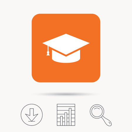 Education icon. Graduation cap symbol. Report chart, download and magnifier search signs. Orange square button with web icon. Vector Illustration