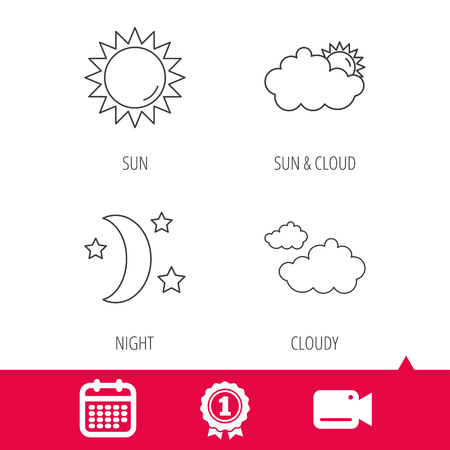 date night: Achievement and video cam signs. Weather, sun and cloudy icons. Moon night linear sign. Calendar icon. Vector Illustration