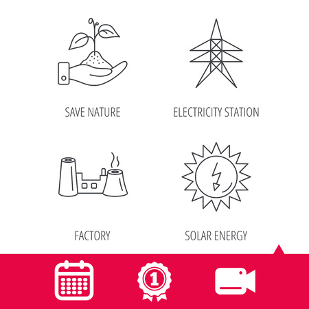 discharges: Achievement and video cam signs. Electricity station, factory and solar energy icons. Save nature linear sign. Calendar icon. Vector Illustration