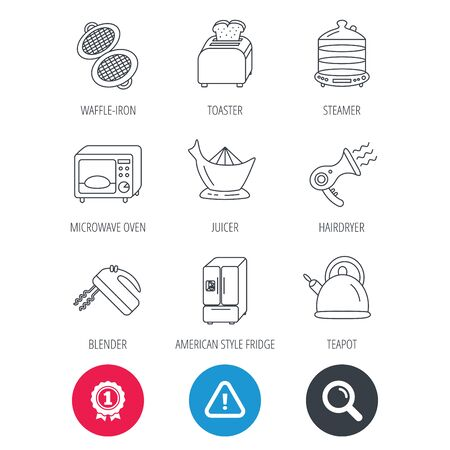 Achievement and search magnifier signs. Microwave oven, teapot and blender icons. Refrigerator fridge, juicer and toaster linear signs. Hair dryer, steamer and waffle-iron icons. Hazard attention icon