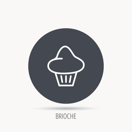 Brioche icon. Bread bun sign. Bakery symbol. Round web button with flat icon. Vector Illustration